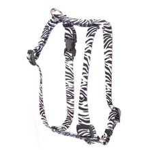 "Zebra Black Roman Style ""H"" Dog Harness"