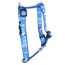 "Tiki Blue Roman Style ""H"" Dog Harness"