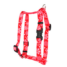 """Red Snowflakes Roman Style """"H"""" Dog Harness"""