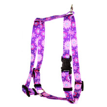 "Purple Flowers Roman Style ""H"" Dog Harness"