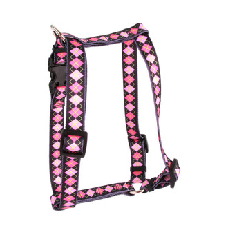 "Pink Argyle Roman Style ""H"" Dog Harness"
