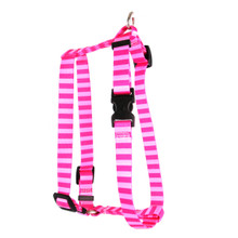 "Pink and Pink Stripe Roman Style ""H"" Dog Harness"