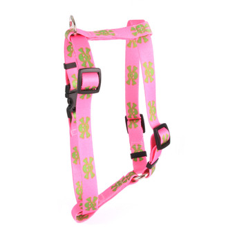 """Pink and Green Skulls Roman Style """"H"""" Dog Harness"""