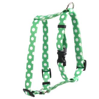 "Lime Polka Dot Roman Style ""H"" Dog Harness"