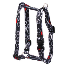 "Kisses Black Roman Style ""H"" Dog Harness"