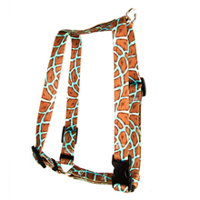 """Giraffe Teal Roman Style """"H"""" Dog Harness"""