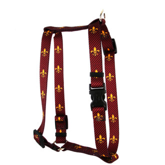 """Fleur de Lis Red Roman Style """"H"""" Dog Harness"""