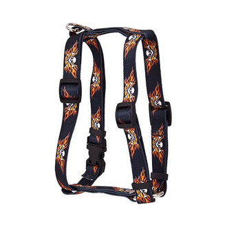 "Flaming Skulls Roman Style ""H"" Dog Harness"