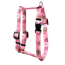 "Daisy Chain Pink Roman Style ""H"" Dog Harness"