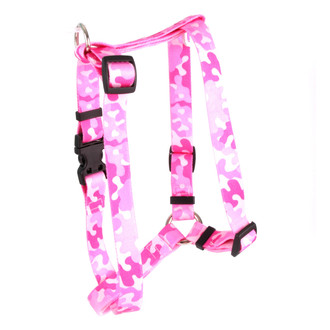 "Camo Pink Roman Style ""H"" Dog Harness"