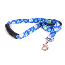 Teal Flowers EZ-Grip Dog Leash