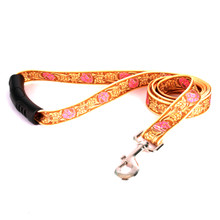 Leather Rose Pink EZ-Grip Fabric Dog Leash