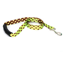 Green and Brown Polka Dot EZ-Grip Dog Leash