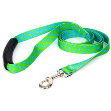Green and Blue Polka Dot EZ-Grip Dog Leash