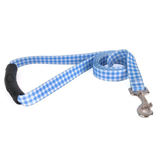 Gingham Blue EZ-Grip Dog Leash