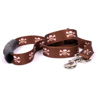 Brown and Pink Skulls EZ-Grip Dog Leash