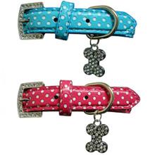 Leather Polka Dot & Crystal BONE Dog Collar