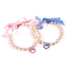 Pearl Dog Necklace With Crystal Heart Pendant