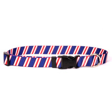 Team Spirit Red, White and Navy Blue Dog Collar