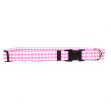 Gingham Pink Dog Collar