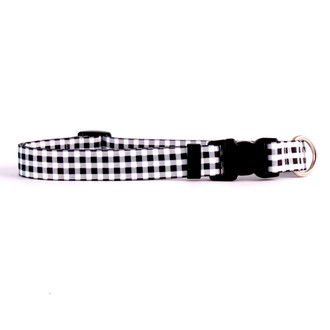 Gingham Black Dog Collar
