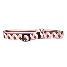 Pink and Brown Argyle Martingale Dog Collar
