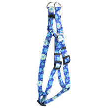 Teal Flowers Step-In Dog Harness