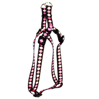 Pink Argyle Step-In Dog Harness