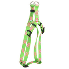 Green and Pink Skulls Step-In Dog Harness
