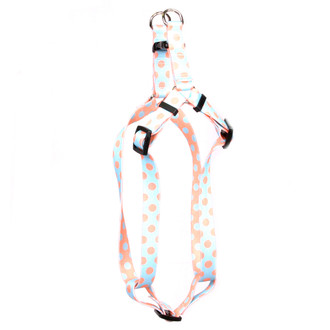 Blue and Melon Polka Dot Step-In Dog Harness