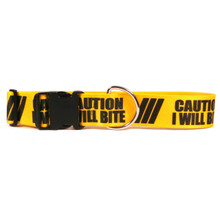 2 Inch - Caution I Will Bite Dog Collar