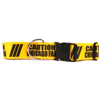 2 Inch - Caution Chicago Fan Dog Collar