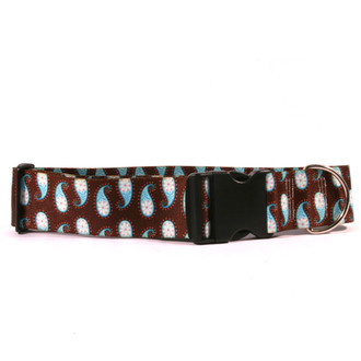 2 Inch Wide Brown Paisley Dog Collar