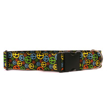 2 Inch Wide Neon Peace Signs Dog Collar