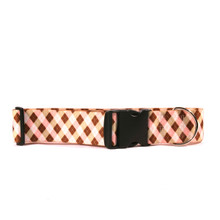 2 Inch Wide Pink and Brown Argyle Dog Collar