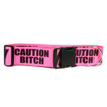 2 Inch - Caution Bitch Dog Collar