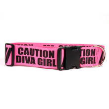 2 Inch - Caution Diva Girl Dog Collar