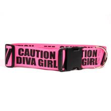 2 Inch - Caution Diva Girl Dog Collar