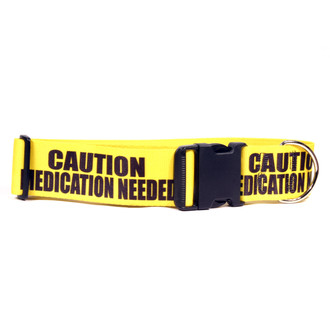 2 Inch - Caution Medication Needed Dog Collar