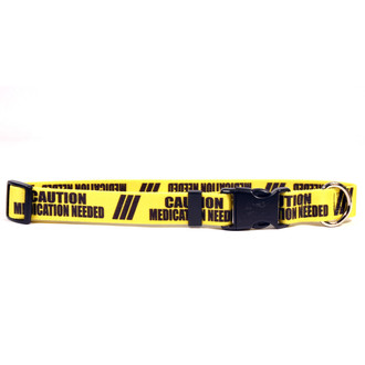 1 Inch - Caution Medication Needed Dog Collar