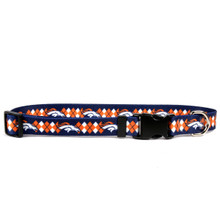 Denver Broncos Argyle Dog Collar