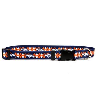Denver Broncos Argyle Dog Collar