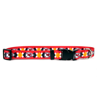 Kansas City Chiefs Argyle Dog Collar