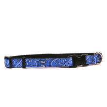 Bandana Blue on Black Grosgrain Ribbon Collar