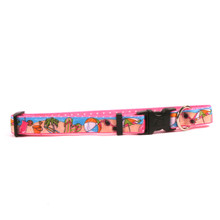 Beach Party on Pink Polka Grosgrain Ribbon Collar