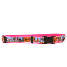Beach Party on Pink Grosgrain Ribbon Collar