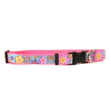 Flower Power on Pink Polka Grosgrain Ribbon Collar