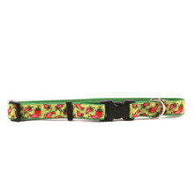 Hot Peppers on Kelly Green Grosgrain Ribbon Collar