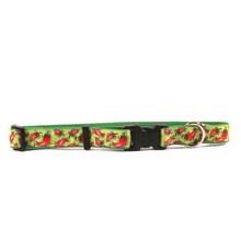 Hot Peppers on Kelly Green Grosgrain Ribbon Collar