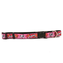 I Luv My Dog Pink on Black Grosgrain Ribbon Collar
